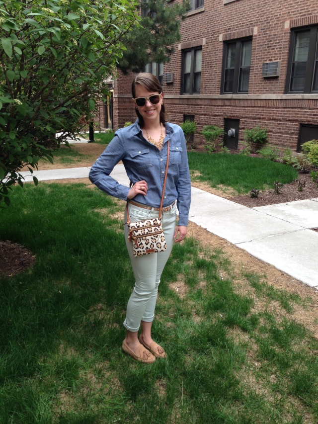 Chambray and Loafers, hand on hip