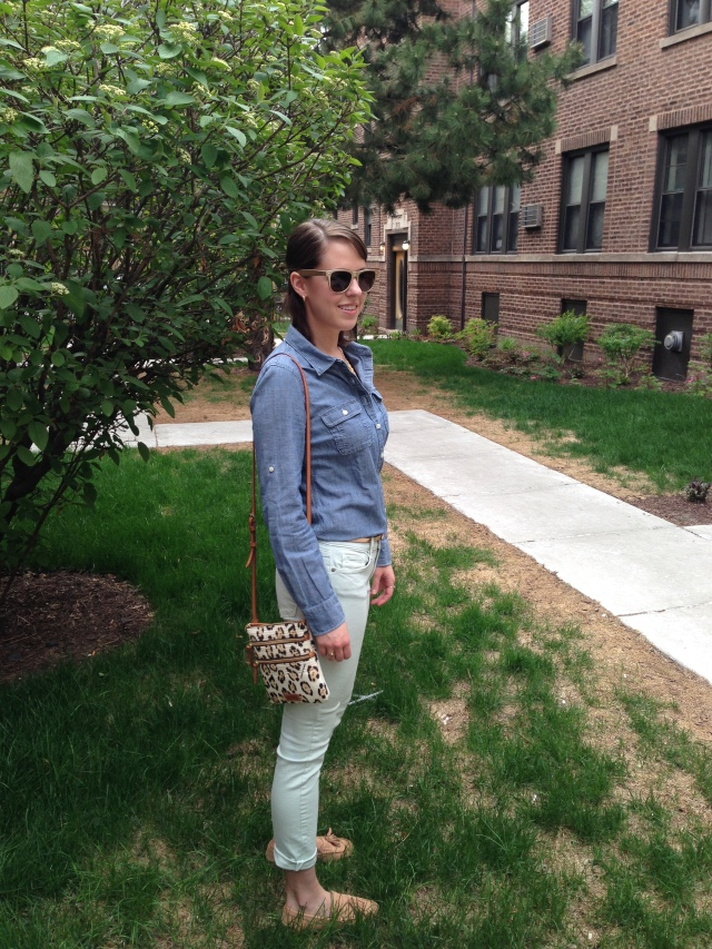Chambray and Loafers, full outfit