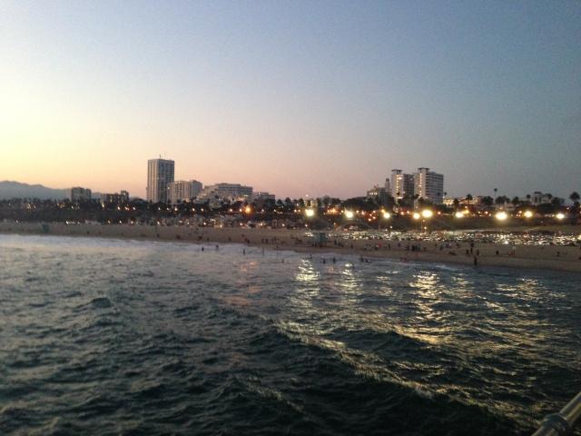 Santa Monica beach line and skyline